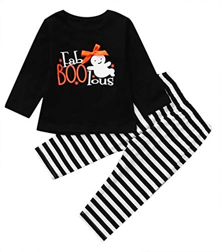 JELLYKIDS Toddler Baby Girl Halloween Costumes Kids Funny Fab-Boo-lous Ghost Print Halloween Top + Stripe Legging Outfits Set Size 18-24 Months/Tag100 (Black)
