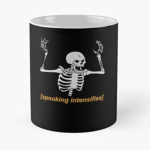 Spooky Meme Scary Skeleton Halloween - 11 Oz Coffee Mugs Unique Ceramic Novelty Cup, The Best Gift For Halloween. -