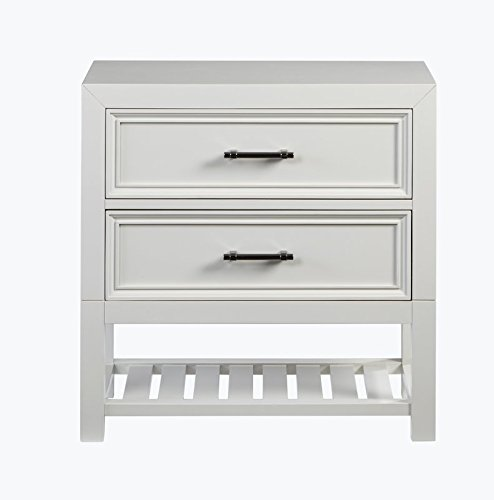 Buy This 2 Drawer Nightstand With Lower Shelf For More Storage Made of Rubberwood & MDF & Plywood With Very Clean And Classic Design in White Color (Lamp 22' High Table)