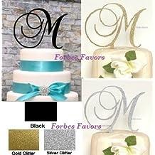 Monogram Inital Letter Acrylic Cake Topper Wedding A B C D E F G H I J K L M N O P Q R S T U V W X Y Z & (N, Glittery Gold)
