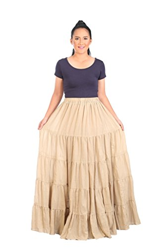 Lannaclothesdesign Women's Cotton Long Ruffle Full Circle Long Skirts Maxi Skirt One Size Beige