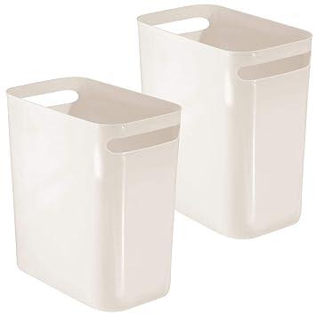 Amazon.com: mDesign - Papelera rectangular de plástico ...