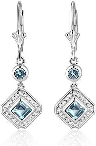 Sterling Silver Square Emerald Cut London Blue Topaz & White Topaz Leverback Drop Earrings (1 CT.T.W)