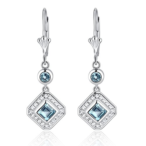 (Sterling Silver Square Cut Genuine Aquamarine, Garnet, Blue Topaz or Peridot & White Topaz Leverback Drop Earrings)