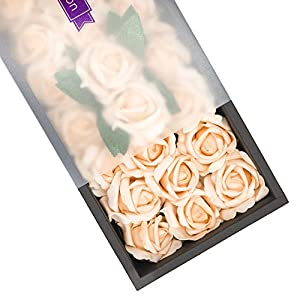 Ella Celebration Artificial Flowers, 25pcs Real Touch Foam Fake Roses Decoration DIY for Wedding Bridesmaid Bridal Bouquets Centerpieces, Party Decoration, Home Display, Office Decor (Peach) 16