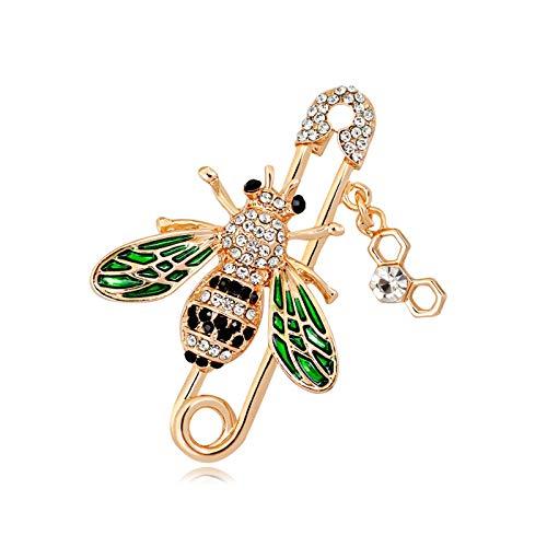 (YOQUCOL Cute Honeybee Bee Brooch Pin Cubic Zirconia CZ Crystal Enamel Golden Tone for Women )