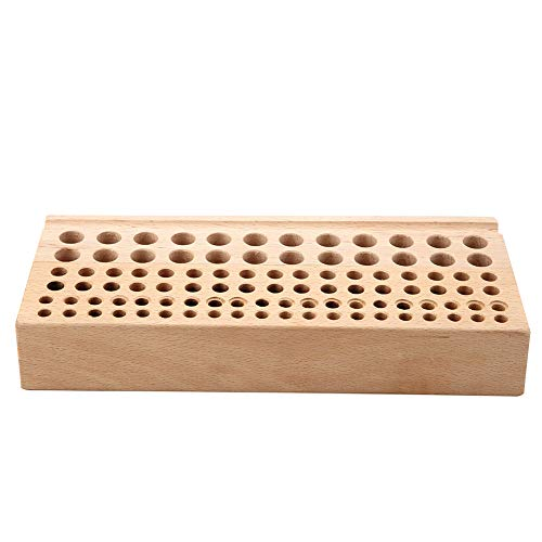 Akozon Leather Holder Tool Wooden Leather Punch Craft Tool Rack 98 Holes Leathercraft Stand Holder Organizer Painting Brushes Holder for Stitching Hole Punch Leather Working Making
