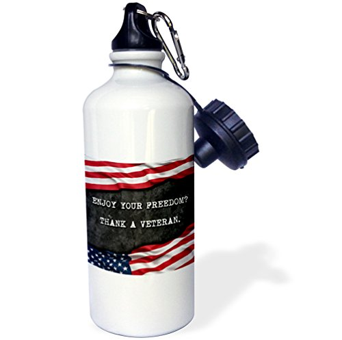 3dRose Carsten Reisinger - Illustrations - Enjoy your freedom. Thank a veteran. Patriotic quote. - 21 oz Sports Water Bottle (wb_237421_1) by 3dRose