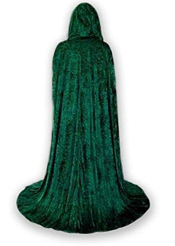[Unlined Crushed Velvet Medieval Renaissance Cloak Cape] (Green Medieval Dress)