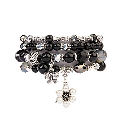 - RIAH FASHION Bohemian Multi Strand Faux Pearl Bracelets - Layer Beaded Statement Stretch Lovely Crystal Charm Bangles Flower, Star, Heart (Flower & Butterfly - Black)
