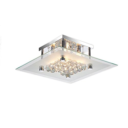Lucia Square Chrome and Crystal Flush Mount 4-Light Chandelier ()