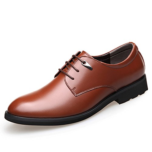 Koyi Chaussures en Cuir Printemps New Business Dress Chaussures pour Hommes Occasionnels Low Shoes Formal Wedding Lace-ups Chaussures Brown ft2GNLbs