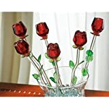 Red Bouquet 6 Glass Roses with Green Leaves (RED, 1)