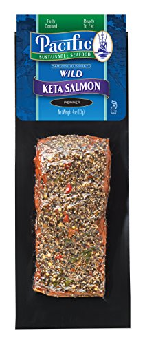 Hot Smoked Keta Salmon-Pepper Flavored, 4oz Frozen (12 Packages)… (Keta Salmon Smoked)