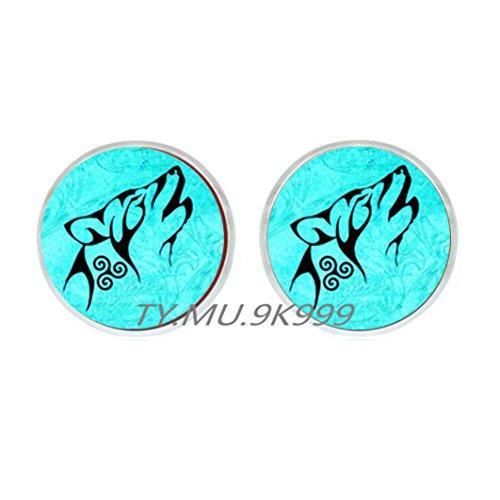Yao0dianxku Wolf Stud Earrings, Wolf Earrings, Wolf jewelry, nature Earrings, art painting Earrings, wolf art, glass dome Stud Earrings.Y085 (1) -