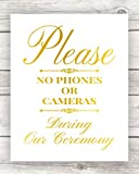 Unplugged Wedding Decorations, No Cell Phones Or Cameras, Gold Foil Print Ceremony Signage, Be Present, Unframed