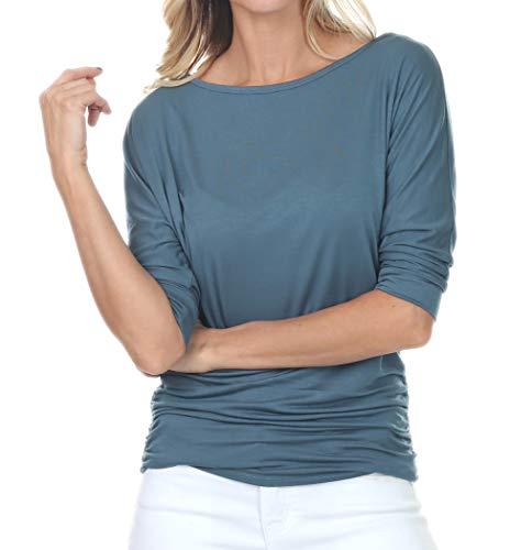 iliad USA 7001 Womens Boat Neck 3/4 Sleeve Drape Dolman Top with Side Shirring Teal ()