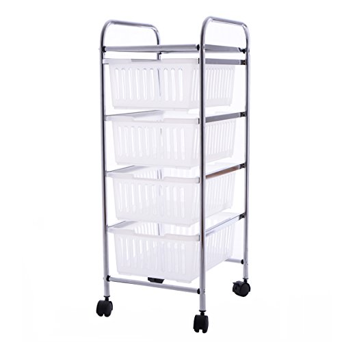Giantex 4 Tier Storage Trolley Rolling Cart Rack Basket Shelf Home Kitchen Bathroom (4 Tier)