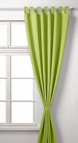 Vorhang Blickdicht Schlaufenschal aus Microsatin, matt, 225x140, Apfelgrün