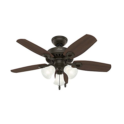 Hunter 52107 Builder Small Room 42-Inch New Bronze Ceiling Fan with Five Brazilian Cherry/Harvest Mahogany Blades and a Light Kit by Hunter Fan Company (Image #2)