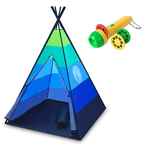 USA Toyz Kids Teepee Tent for Boys or Girls - Happy Hut Play Tent Playhouses, Indoor Outdoor Portable Childrens Play Tents w/ Safari Projector and Tote (Blue) -