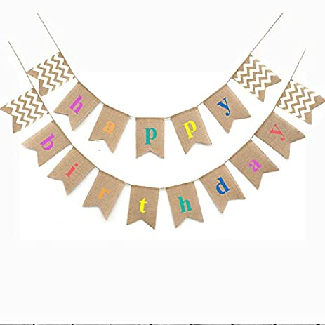 Separate 2 StrandsHappy Birthday Bunting Banner FlagsRustic Burlap Banners Swallowtail Shaped