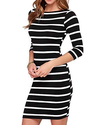 Queen.M Women's Sexy Bodycon Dress 3/4 Sleeve Striped Knitting Casual Club Party Slim Short Mini Dress (White And Black Striped Long Sleeve Dress)