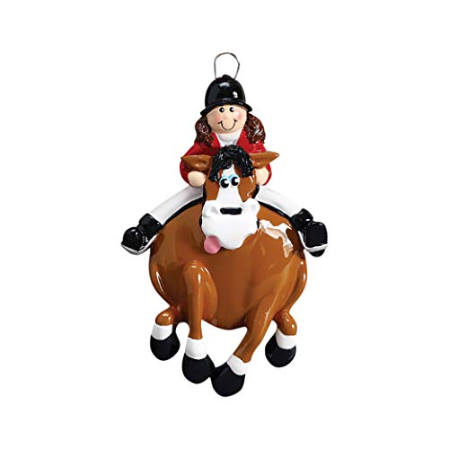 Personalized English Rider Christmas Tree Ornament 2019 - Brunette Girl Riding Horsewoman Horseshoe Black Jockey Lesson Race Horseback Trail Teacher Sport Activity Gift Year - Free Customization (Ornament Knight Rider)