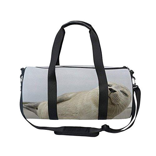 FeierCustom Gym Bag Cute Seal Women Yoga Canvas Duffel Bag Cute Sports Bag for Girls