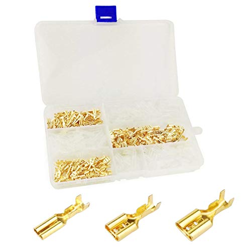 180pcs Brass Crimp Terminal Female Spade Connector with 180pcs Insulating Sleeve (2.8/4.8/6.3mm), Quick Splice Crimp Terminals Kit AWG 22~14 Gauge for Car Audio Speaker