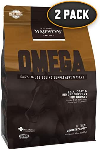 Majesty's Omega Wafers - Horse/Equine Skin, Coat, Immune Support Supplement - Omega 3, 6, 9, Biotin - Reduces Inflammation & Skin Allergy, Improves Immune System - 4 Month Supply (2 Bags/120 Count)