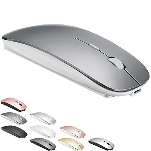 Bluetooth Mouse for MacBook pro/MacBook air/Laptop/iMac/ipad, Wireless Mouse for MacBook pro MacBook Air/iMac/Laptop/Notebook/pc(BT/Grey-White)