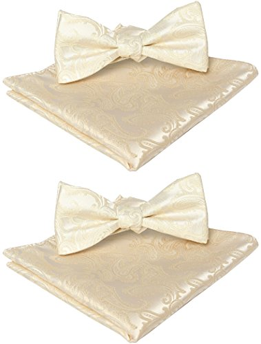 Ivory Tie Bow (2 Bowtie Sets: KissTies Self-Tie Paisley Bow Tie + Pocket Square, Cream Ivory)
