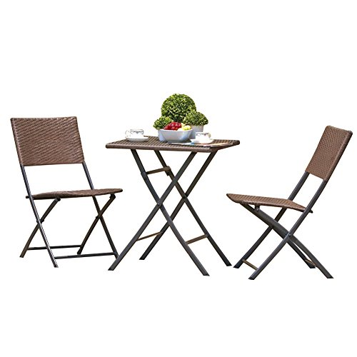 Grand patio Rattan Patio Set,Outdoor table Sets with Rust-proof Steel Frames, 3 Piece Weather Resistant Parma Set of Foldable Garden Table and Chairs, Brown (Table And Chairs Garden Set)
