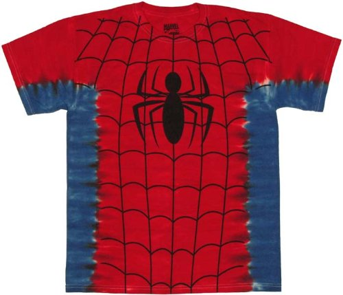 Spider Man New Costumes Comic (Men's Marvel Comics Spider-man Suit Costume Tie-Dye Big Print Subway T-shirt XL)