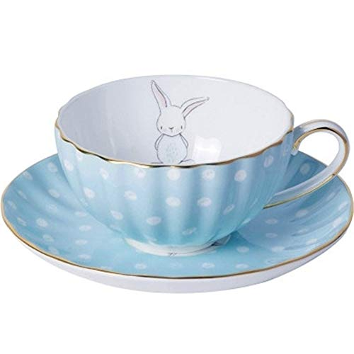 (White Dots Little Rabbit Ceramic Bone China Coffee cup Saucer Set   British Style Black Tea Milk Cup with Spoon Blue 9.5cm5cm14cm)