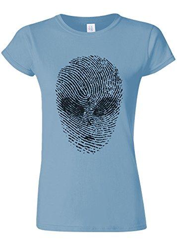 不測の事態無駄に太字Finger Print Alien Space Galaxy Novelty Light Blue Women T Shirt Top-L
