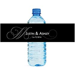 "100 Black Monogram Elegant Wedding Anniversary Engagement Party Water Bottle Labels 8""x2"""