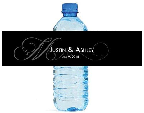 100 Black Monogram Elegant Wedding Anniversary Engagement Party Water Bottle Labels 8