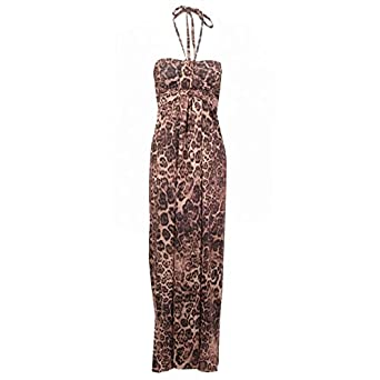 984821c3f2 Womens Leopard Print Bandeau Maxi Dress - 8 - Brown  Amazon.co.uk  Clothing