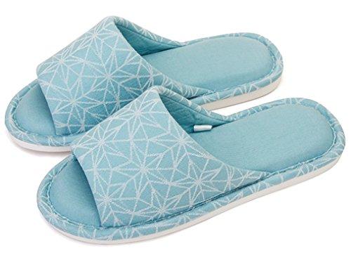 Blubi Mujeres Floral Open Toe Cómodas Zapatillas De Algodón En El Dormitorio Summer Slippers Green