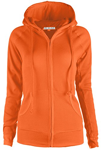 ViiViiKay Womens Casual Warm Thin Thermal Knitted Solid Zip-Up Hoodie Jacket (SMALL, BORANGE) by ViiViiKay