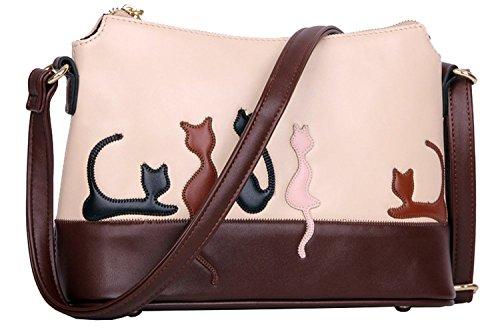 BG® Women Cute Beige Cat Leatherette Crossbody Shoulder Bags