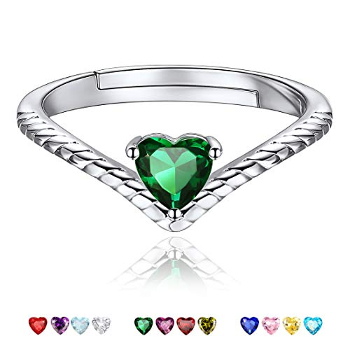 May Birthstone Promise Rings Dark Green Crystal Jewelry Love Heart 925 Sterling Silver Eternity Bands Engagement Rings for Her ()