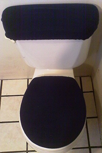 Navy Blue Fleece Toilet Seat And Tank Top Cover Set
