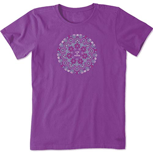 Life is Good Womens Flower Graphic T-Shirt Crusher Collection,Happy Plum,XX-Large
