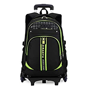 YUB Children School Bags Students Backpack Trolley Wheels Bags Rolling Backpacks for Kids Removable Green