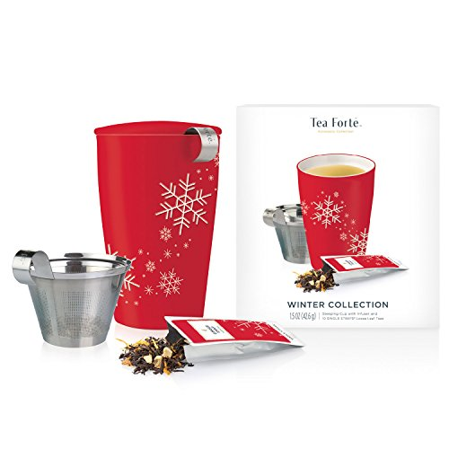 Tea Forté Loose Tea Starter Set, Gift Set with Kati Cup Infuser Steeping Cup and Box of 10 Single Steeps Assorted Variety Tea Pouches, Red Snowflake