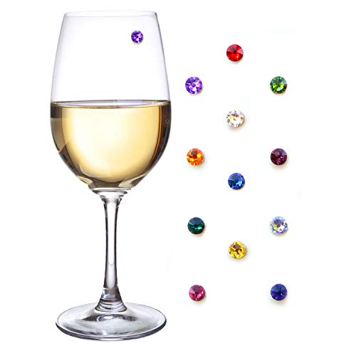 Simply Charmed Swarovski Crystal Magnetic Wine Glass Charms Set of 12 Glass Markers That Work on Stemless Glasses - Gift/Storage Box Included -
