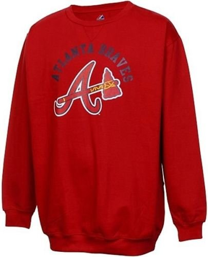 Majestic Atlanta Braves MLB Licensed Jameson Sweatshirt Men Red Big Sizes (2XL)